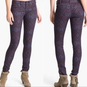 Free People Purple Aztec Tribal Printed Jeans 29